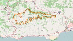Grenzen des Nationalparks Sierra Nevada auf der Karte