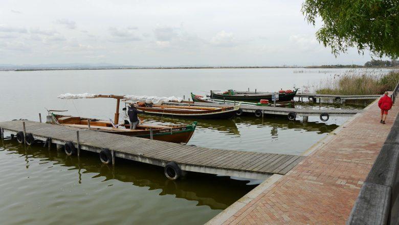 Ausflugsboot warten auf Gäste am Ufer der Lagune l'Albufera
