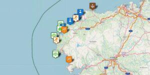 Costa da Morte Karte mit Reisezielen, Kaps und Küstenorten