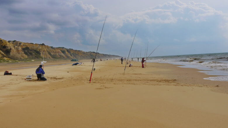 Angler an der Playa de Mazagón