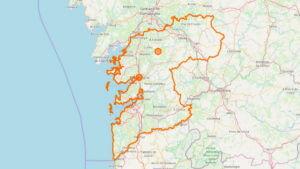 Touristische Karte der Provinz Pontevedra(Galicien) mit sehenswerten Orten und Städte
