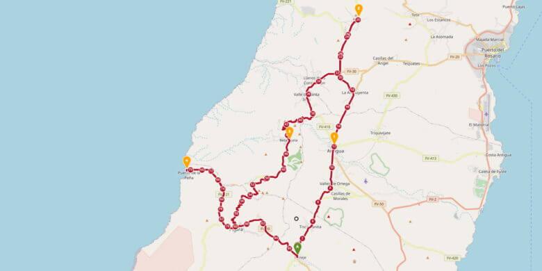 Karte Fuerteventura Rundfahrt
